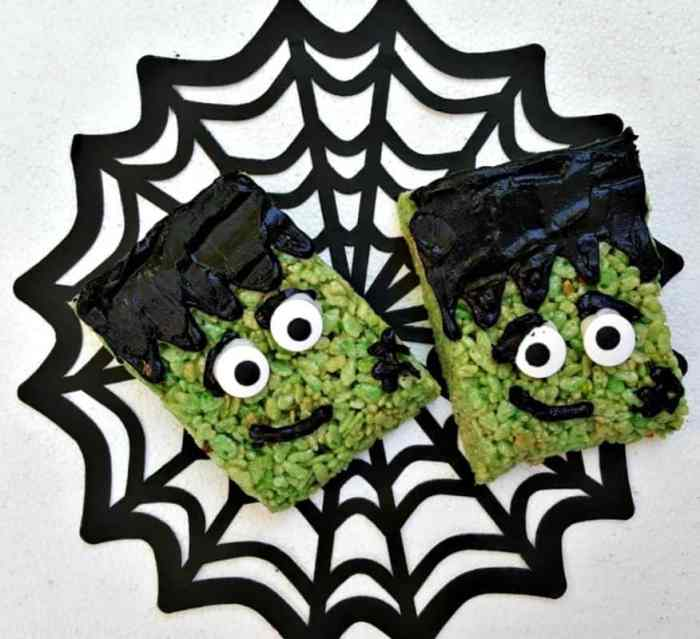 frankenstein rice krispies treats on spider web