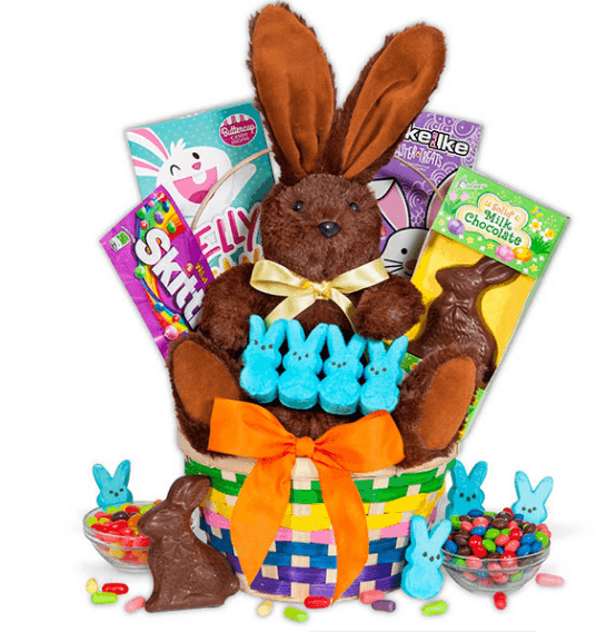 The classic easter basket is the sweetest easter gift the classic easter basket features bright sweet candies delicious chocolate marshmallow peeps and a soft stuffed bunny its all arranged in a colorful negle Image collections