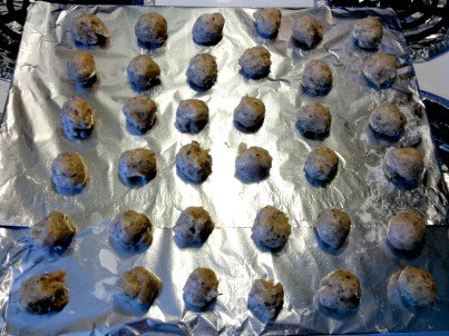 herbed turkey meatballs ready for the oven