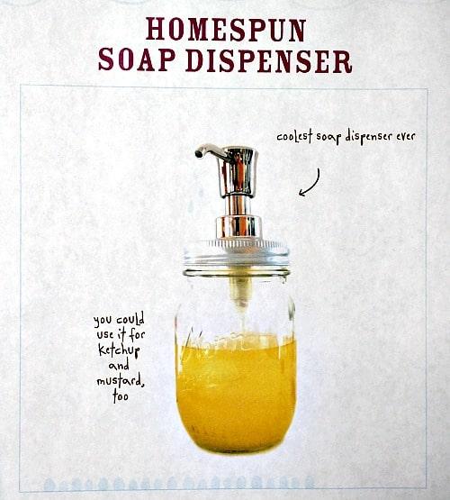 homespun soap dispenser from DIY Mason Jars by Melissa Averinos