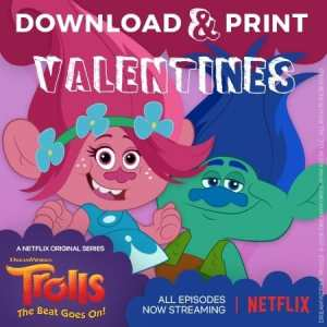 TROLLS The Beat Goes On Free Printable Valentine's