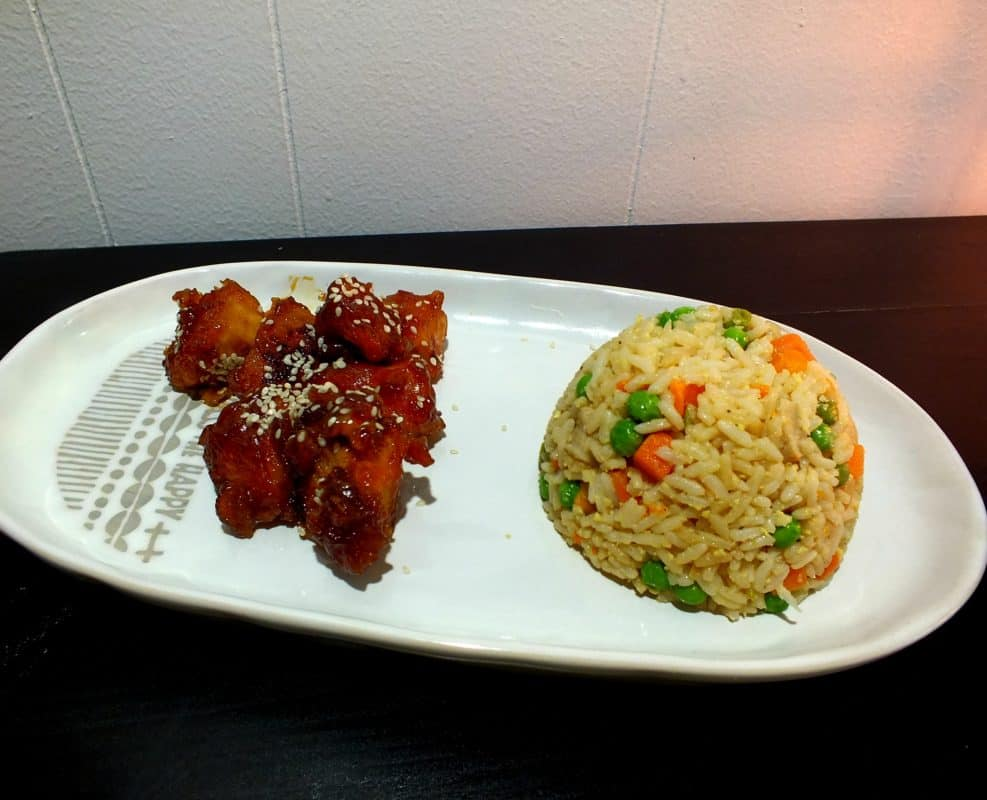instant pot sesame seed chicken with pork fried rice