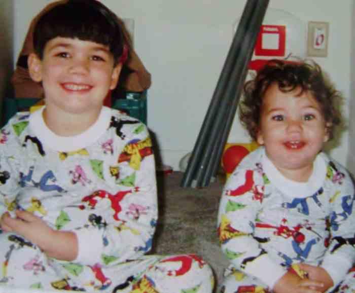 jake and zac in power ranger pajamas