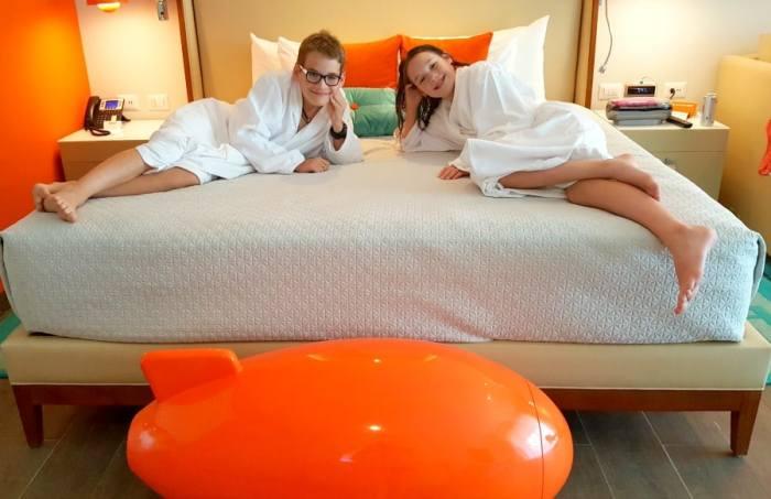 lounging in hotel robes at Nickelodeon resort punta cana
