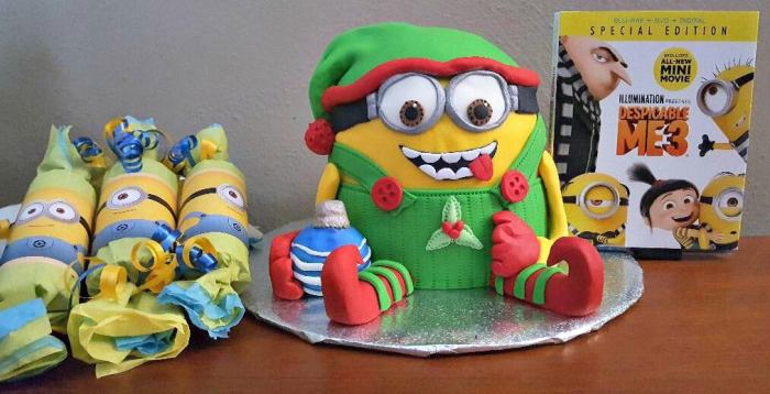 minion cake with minions christmas crackers and despicable me 3