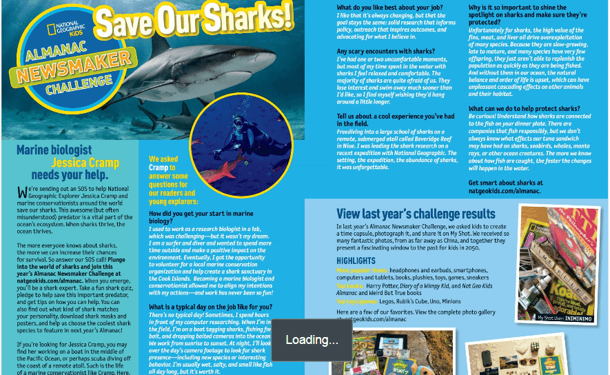 national geographic almanac save our sharks