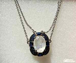 This Rainbow Moonstone and Sapphire Necklace is a Classic Beauty