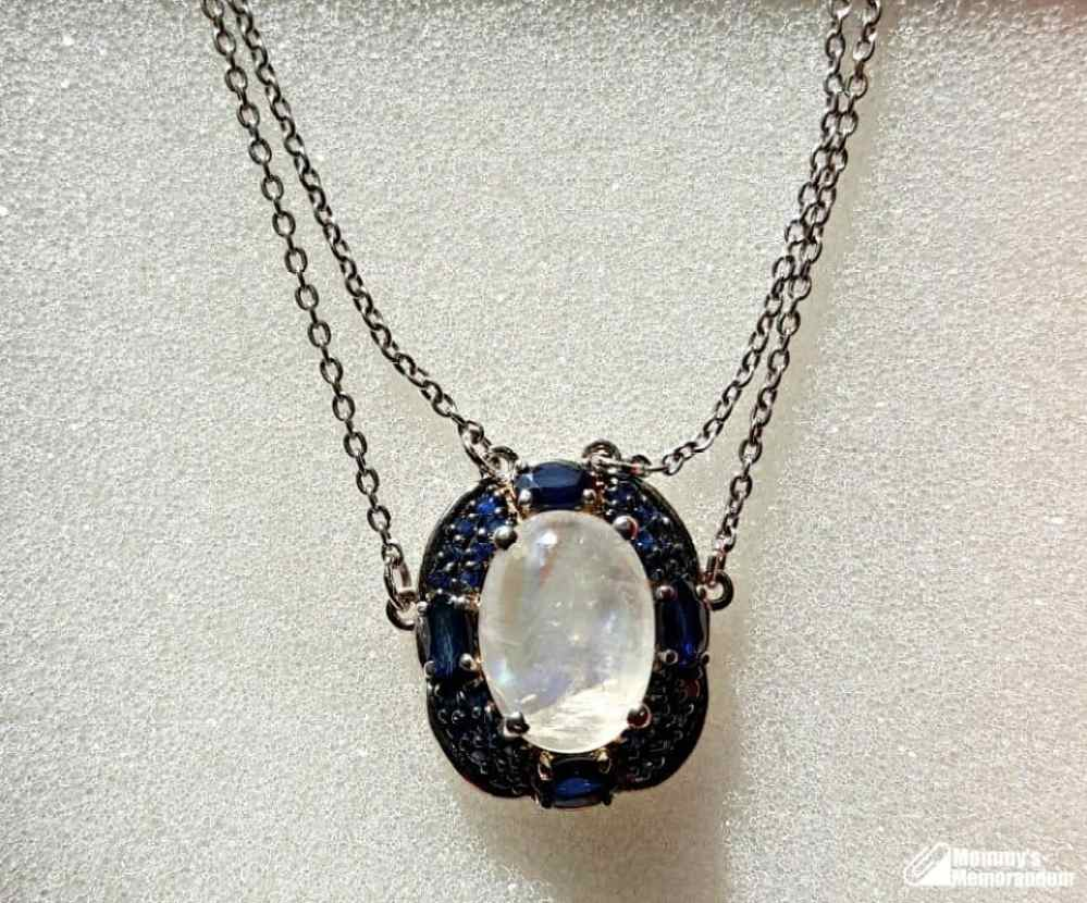 moonstone sapphire necklace, rainbow moonstone neclace with sapphires
