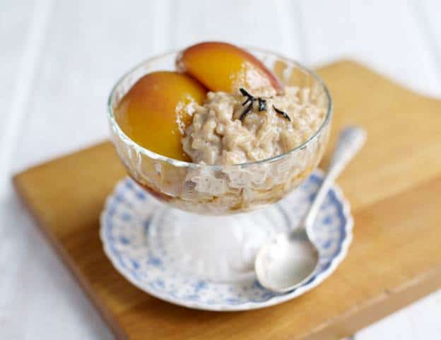 Earl Grey Amira Rice Pudding with Wine, Lemon and Vanilla Nectarines Recipe