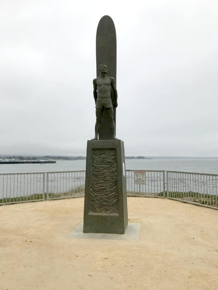 The Surfer statue near Steamer Lane in Santa Cruz, California by artists Paul Topp