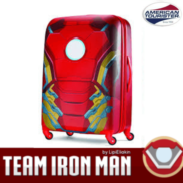 team iron man luggage for blog