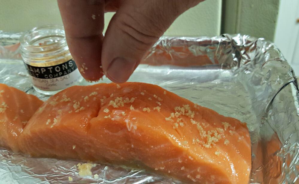 terras kitchen salmon being salted