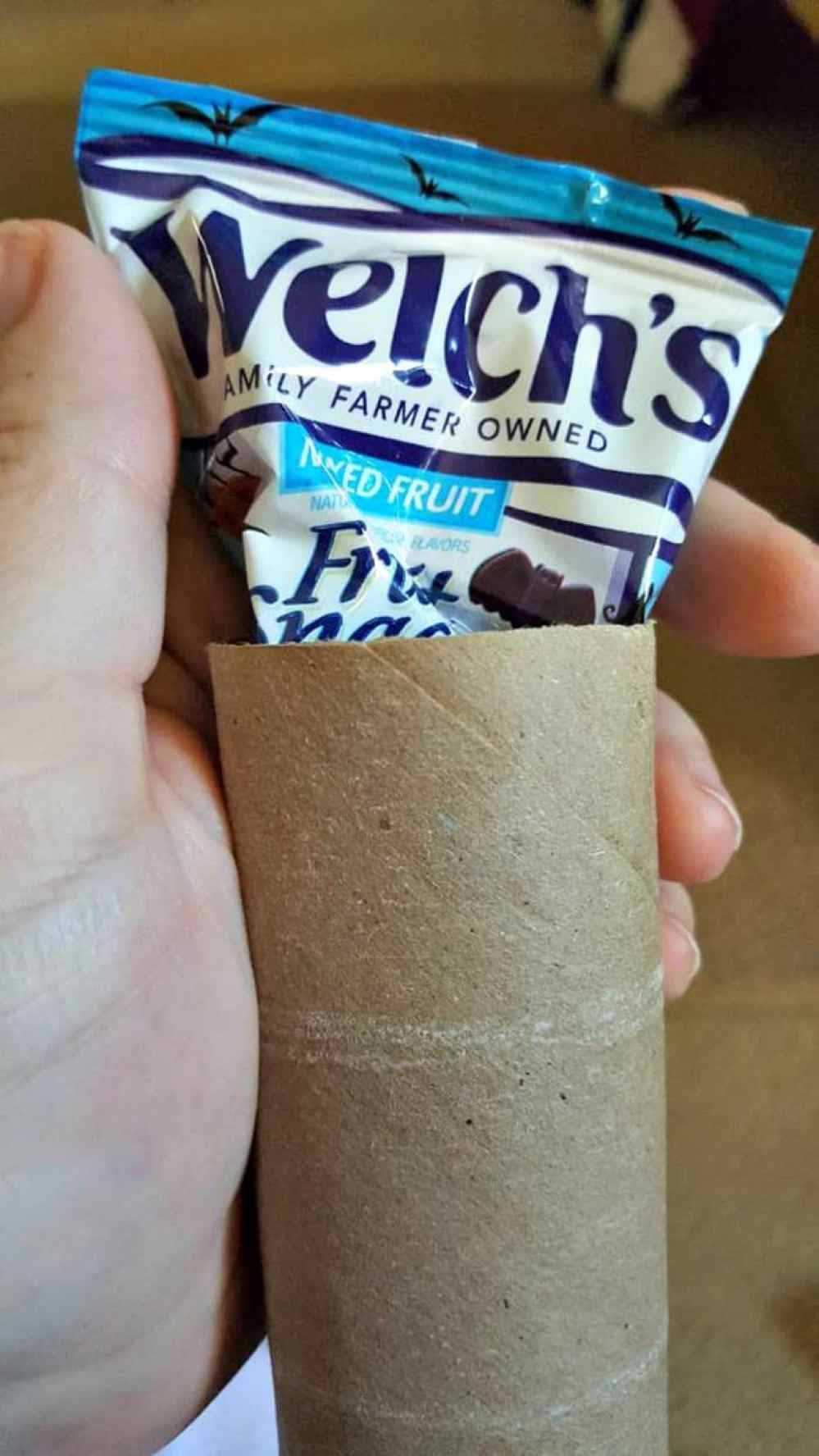 tucking Welch's fruit snack in paper roll mummy craft