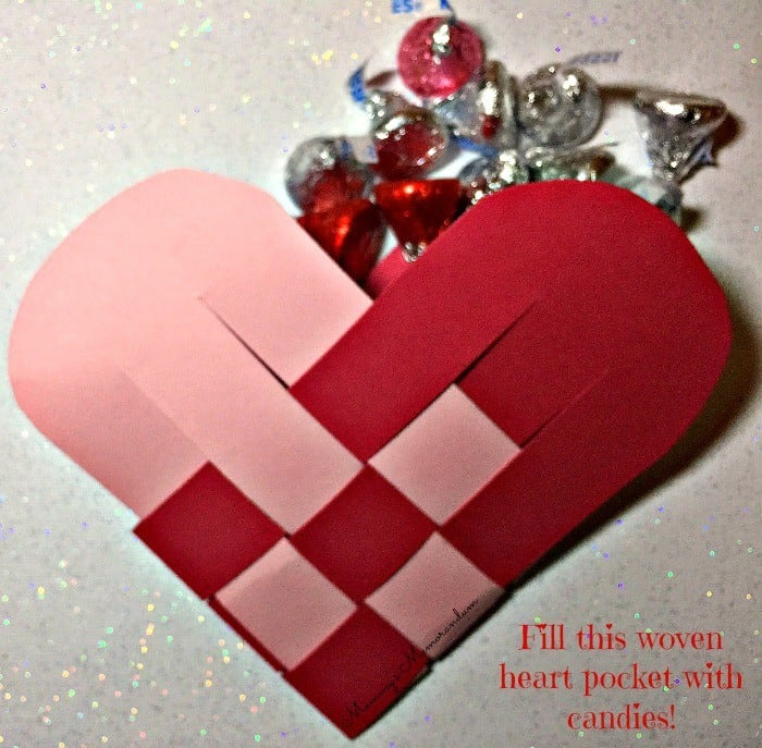 woven heart pocket filled with candy