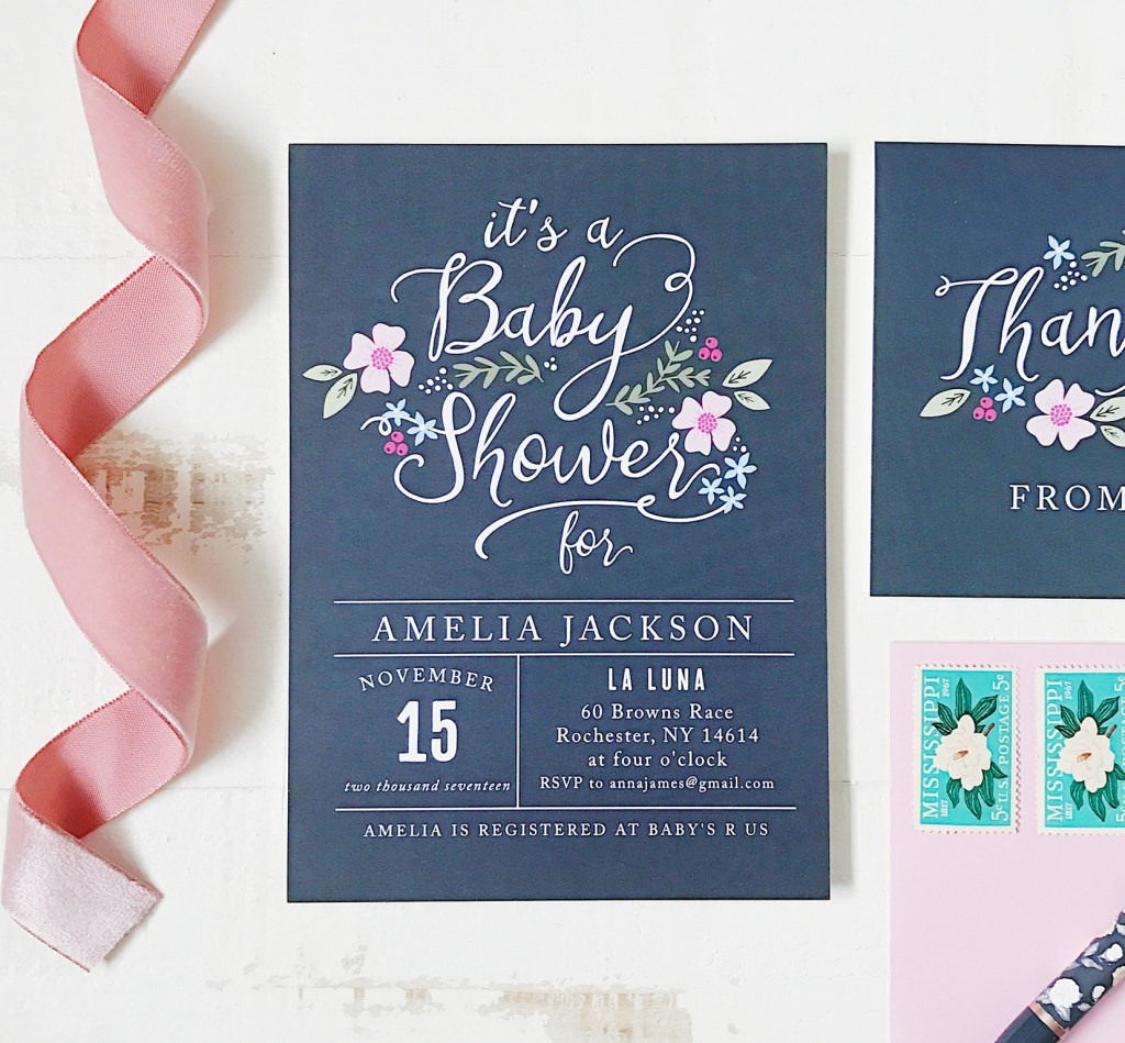 Invites - Floral and Navy Baby Shower