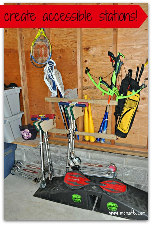 Summer garage fun stations- accessible stations- scooters, bats
