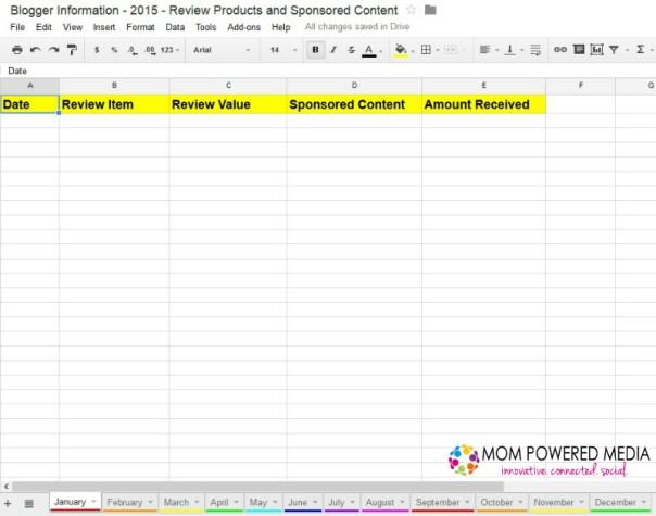 Blogger Spreadsheet