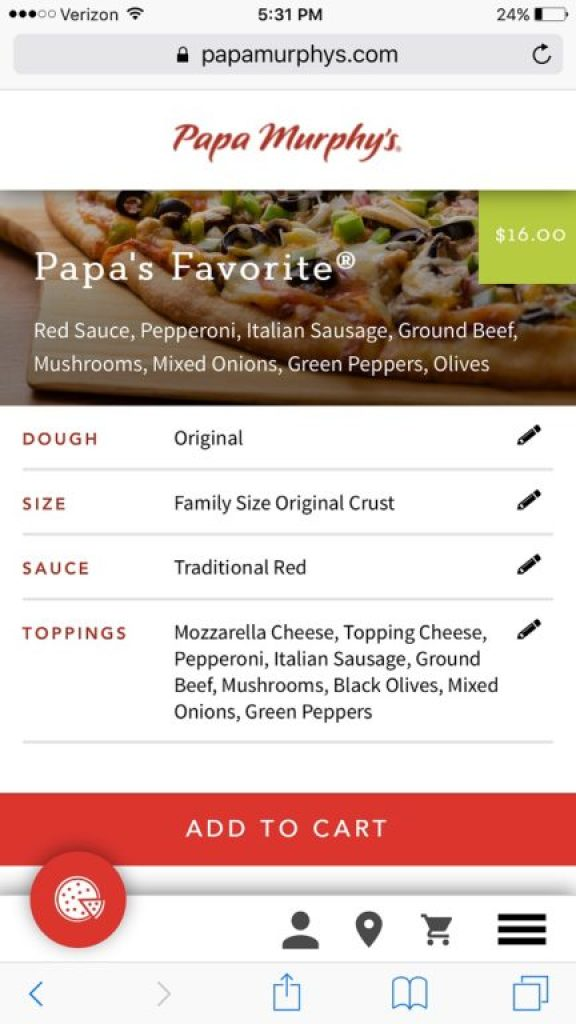 Papa Murphy's online ordering mobile site
