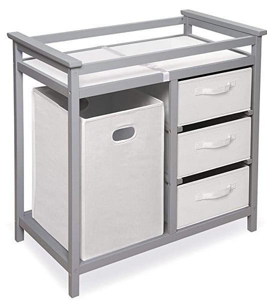 Modern Baby Changing Table with Laundry Hamper