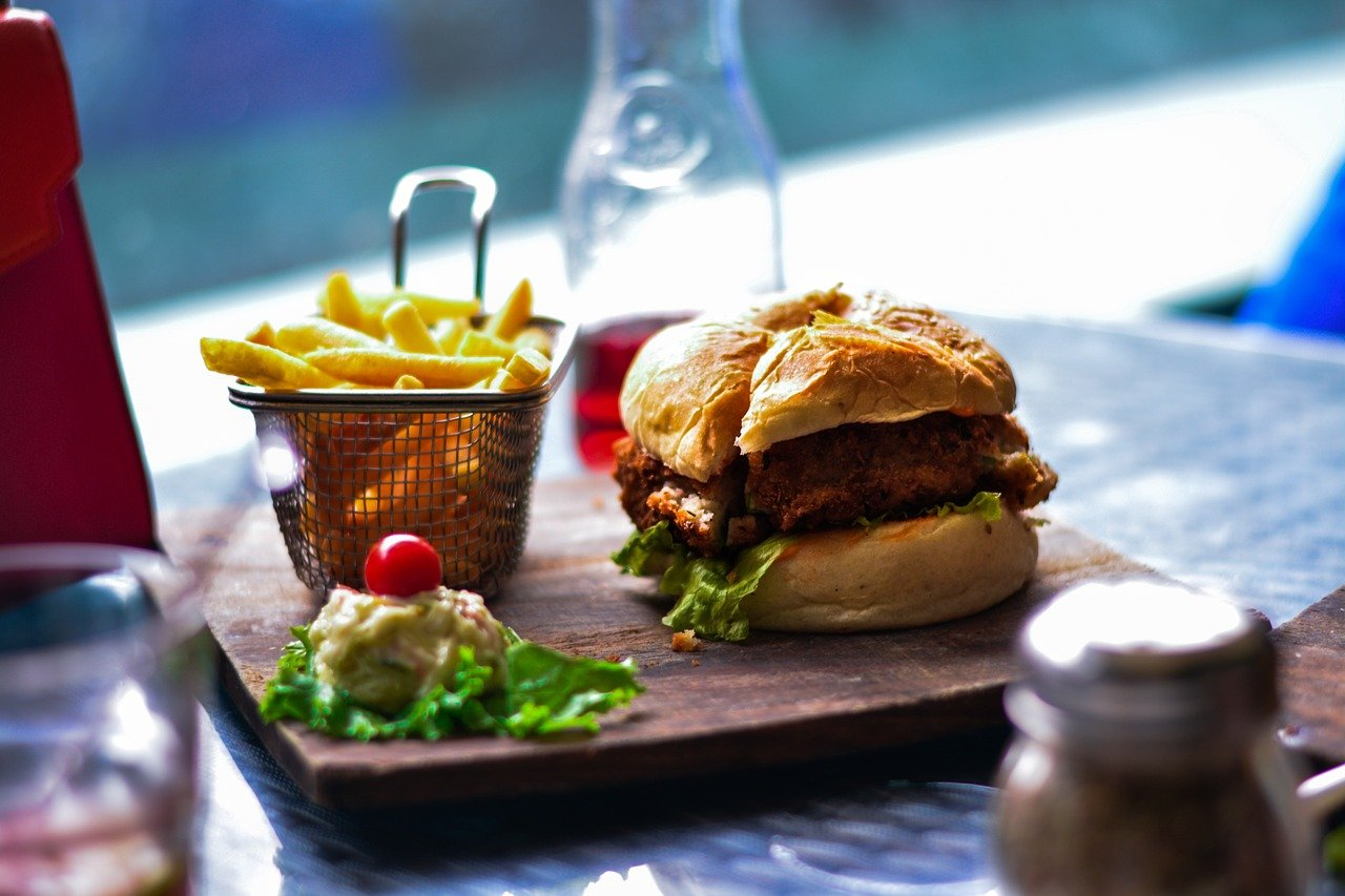 food, french fries, hamburger