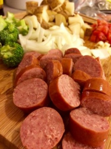 Sliced Hillshire Farm Beef Smoked Sausage.