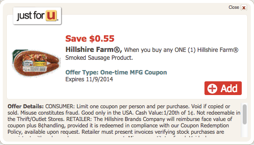 Save $0.55 on Hillshire Farm Smoked Sausage