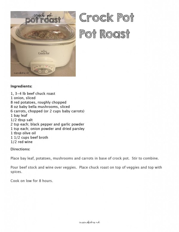 crockpot pot roast recipe moms bistro one pot meal slow cooker recipe