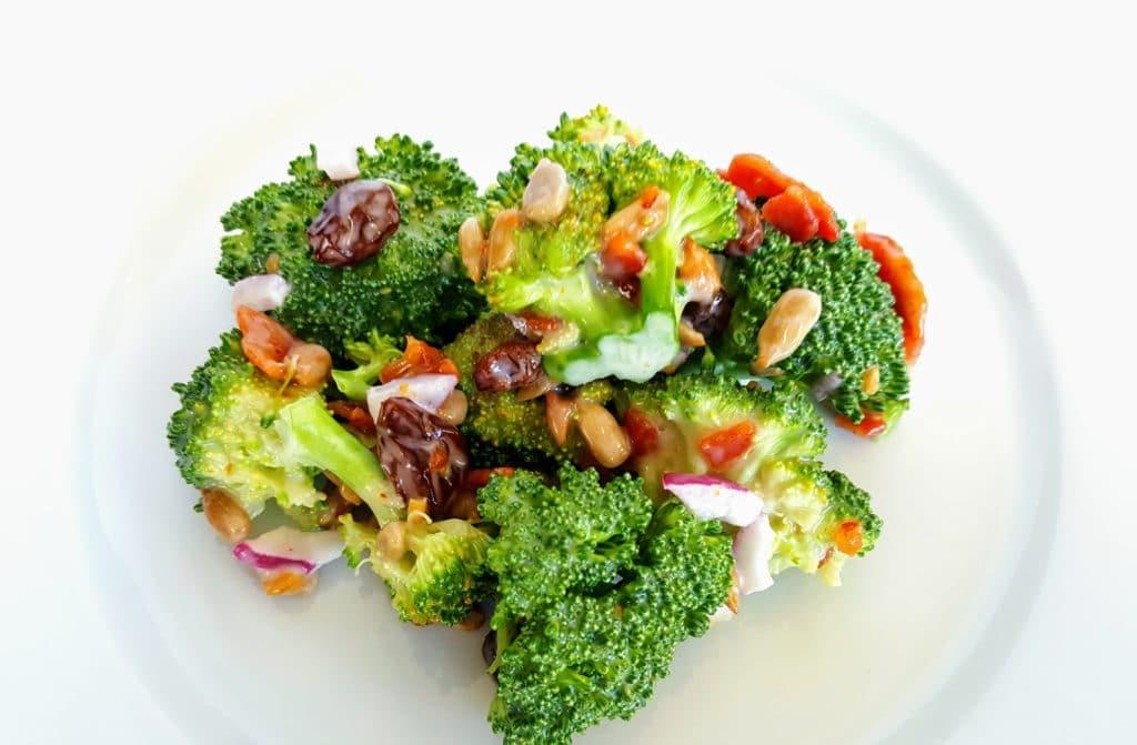 serving of broccoli bacon salad