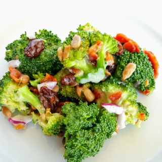 serving of broccoli bacon salad