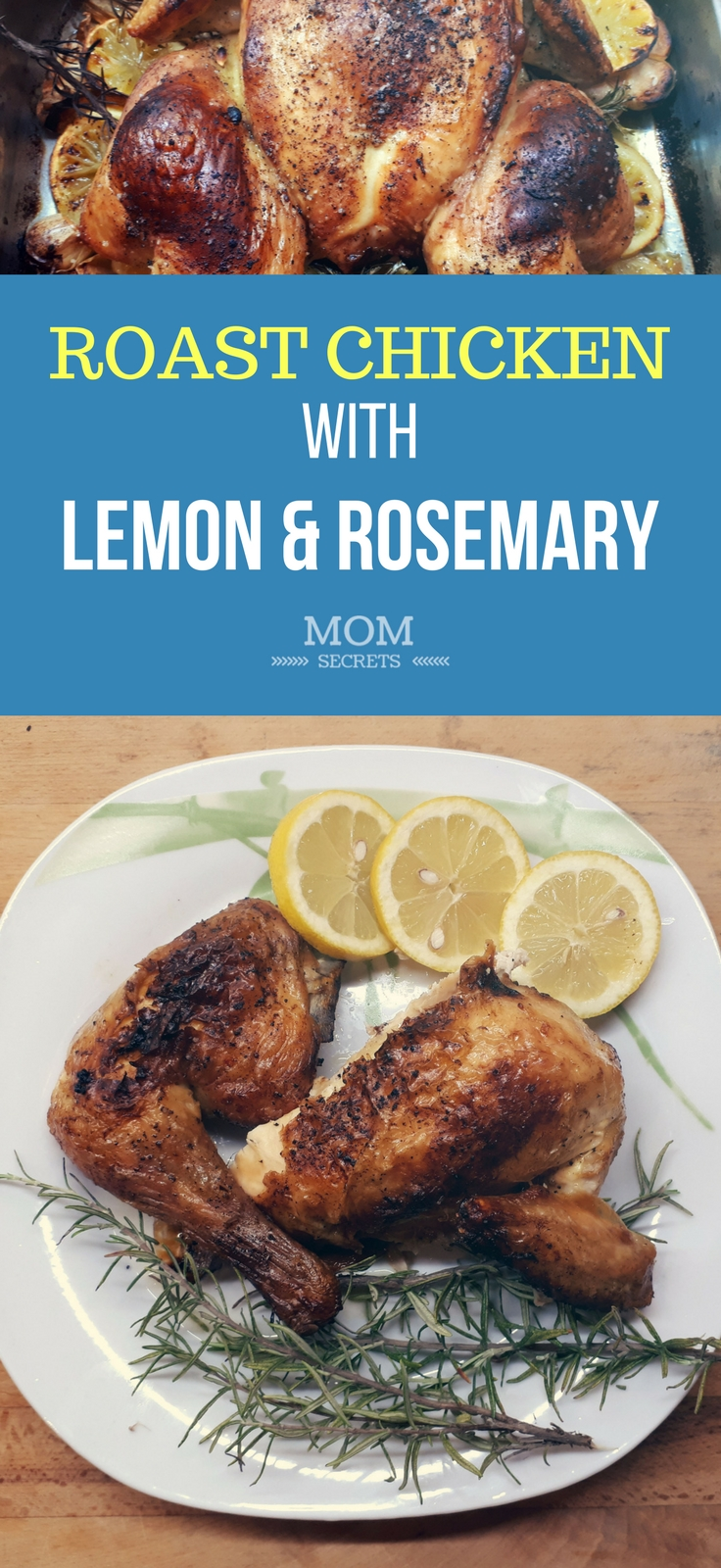 Whole Roast Chicken Recipe with Lemon and Rosemary. Perfect for a quick dinner oven butterfly roast chicken. Week night healthy dinner roast chicken with herbs.