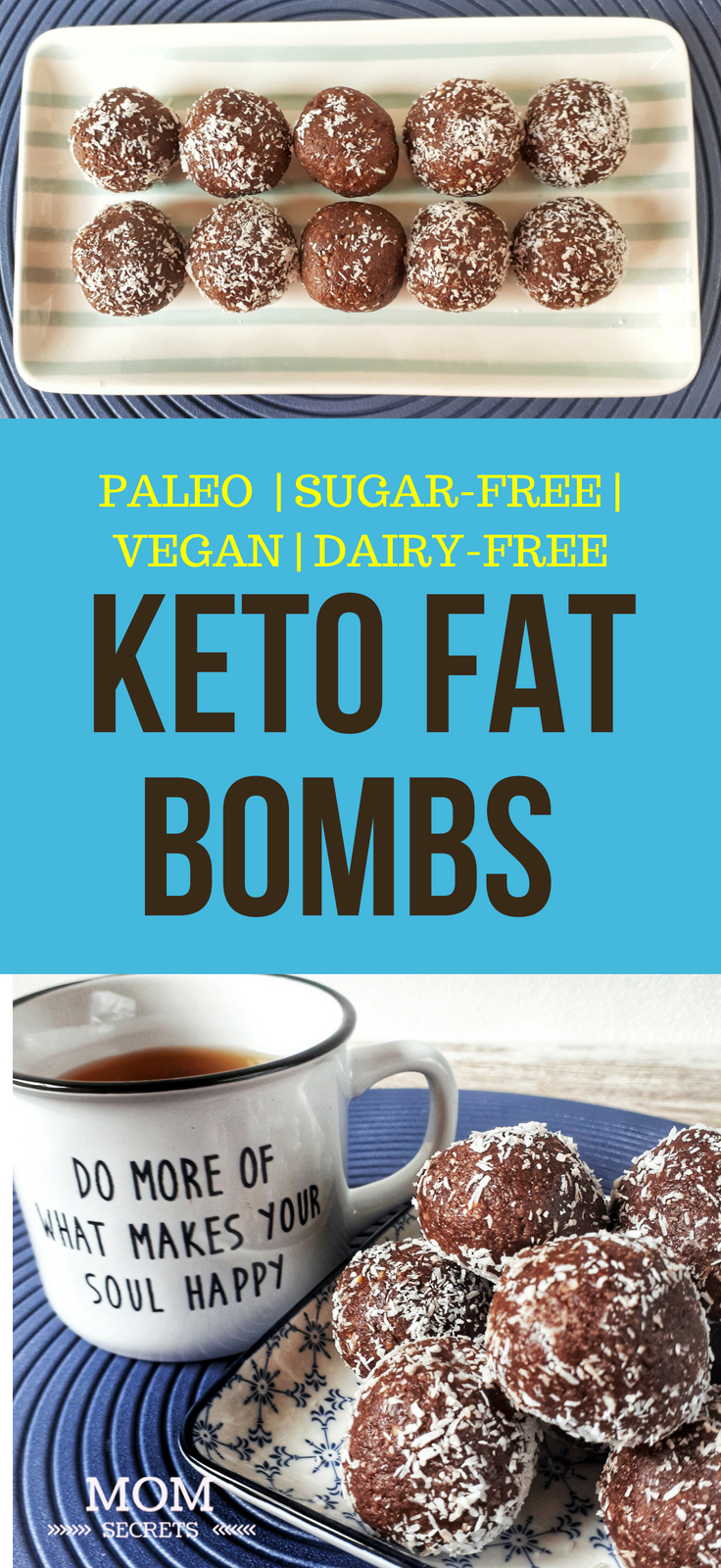 These delicious little no-bake keto fat bombs are the perfect healthy snack! They are low-carb, grain-free, dairy-free, vegan and paleo. Simply irresistible!