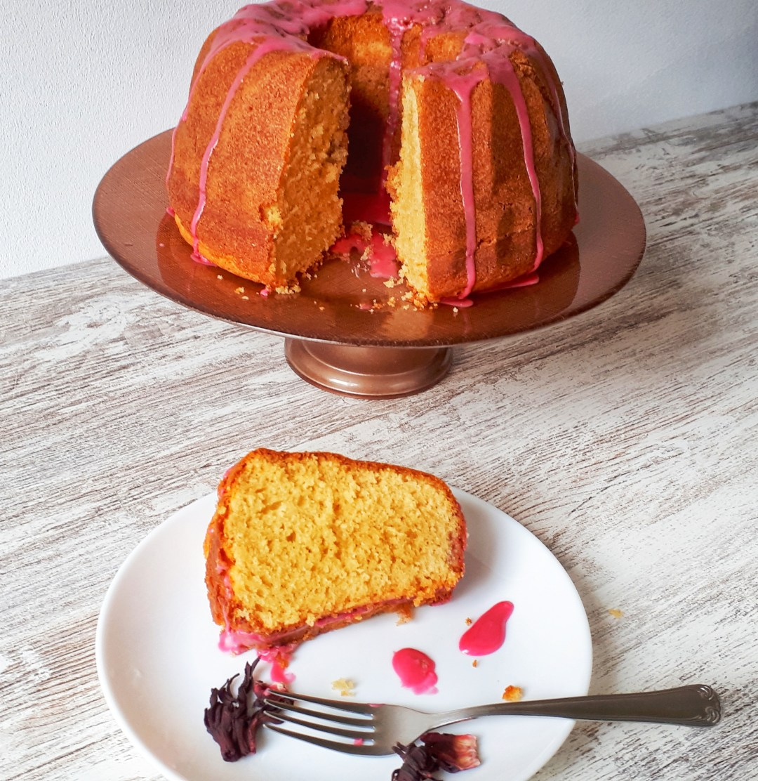 This beautiful cream cheese and vanilla bundt cake is so easy and quick to make. The hibiscus glaze makes this such an elegant cake that taste as good as it looks!