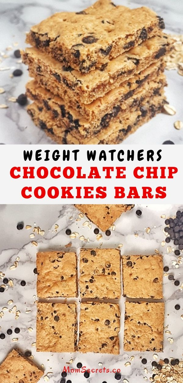 Weight Watchers Chocolate Chip Cookie Bars with 3 smart points are incredibly soft and chewy, with no eggs, dairy, butter, or refined sugar. #weighywatchers