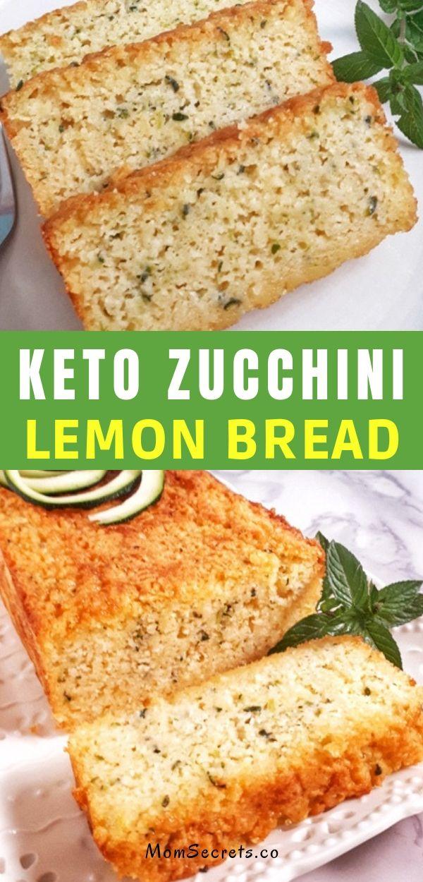 This easy keto low carb zucchini lemon bread recipe is sweet & incredibly moist. You'll love the light and refreshing lemon taste this bread has! #ketobread