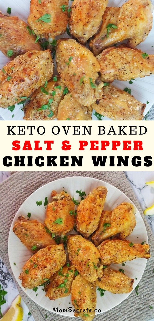 These keto-friendly Salt and Pepper Baked Chicken Wings are so easy to make and they come out of the oven crispy, flavorful and delicious.