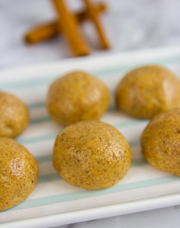 These 5-ingredient KETO cinnamon protein balls only take a few minutes to throw together and are full of healthful ingredients! #energyballs #proteinballs