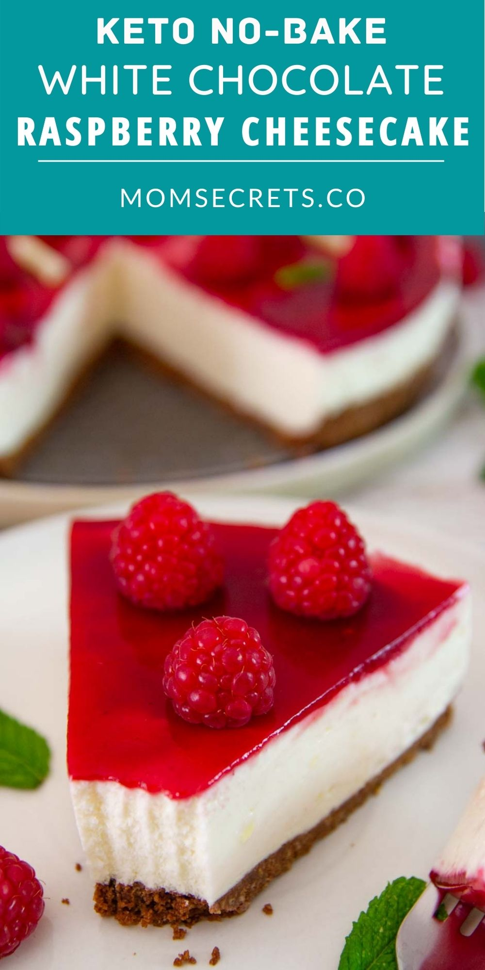 No-Bake Keto White Chocolate Raspberry Cheesecake is a smooth and creamy, sugar-free low carb easy dessert for summer! And you don't even have to turn on the oven.