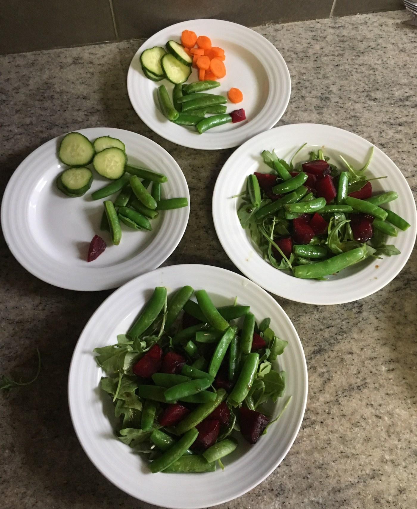 Roast beet, snap pea and arugula salad picture.