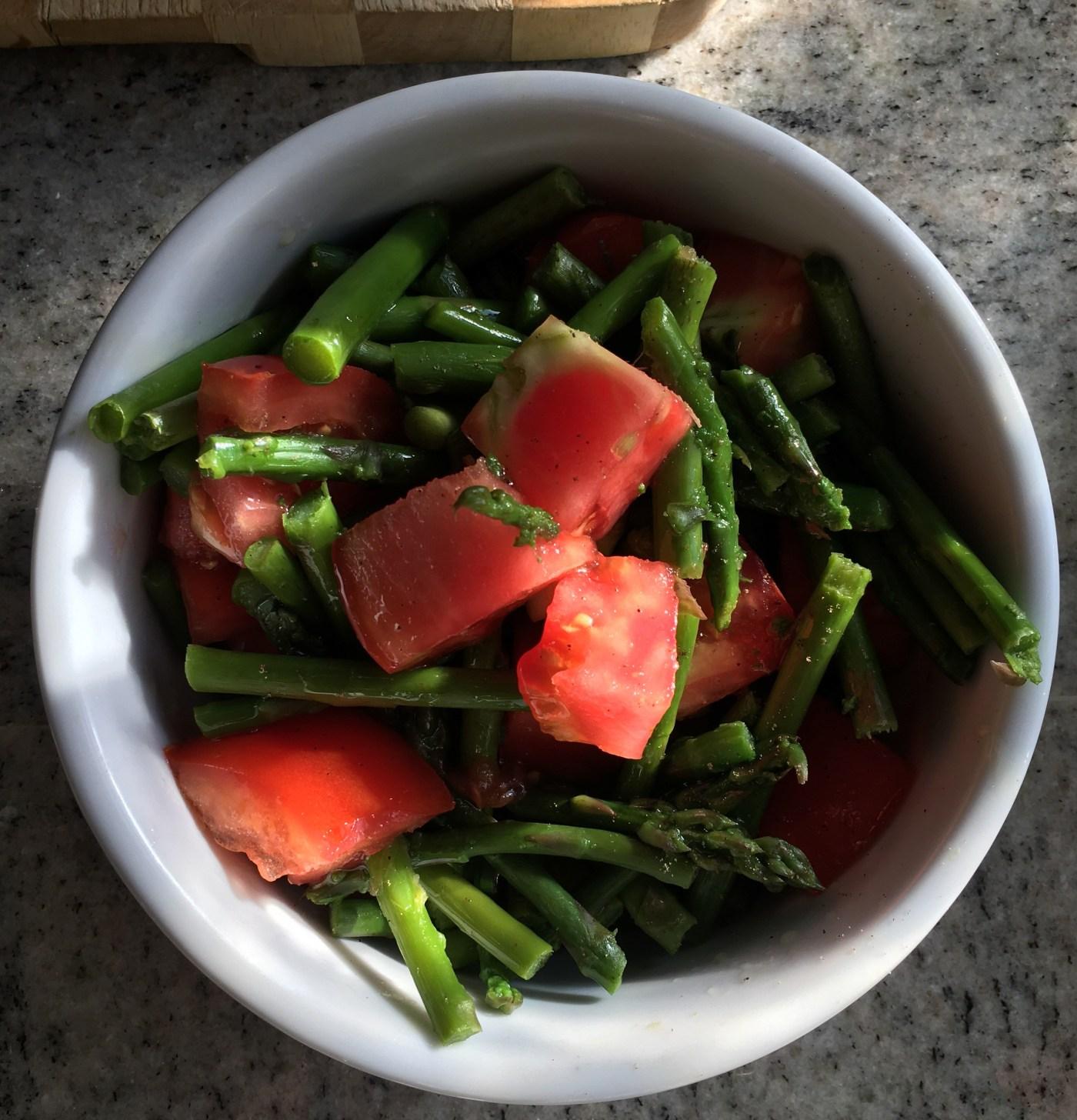 Warm asparagus and tomato salad
