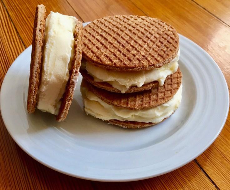 Yummy swoffle ice cream sandwiches with vanilla bean ice cream