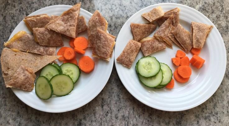 Kids' quesadillas + veggies