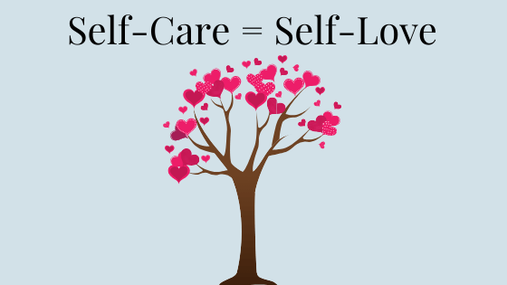 Image of a tree with hearts for leaves under title, 'Self-Care = Self-Love""