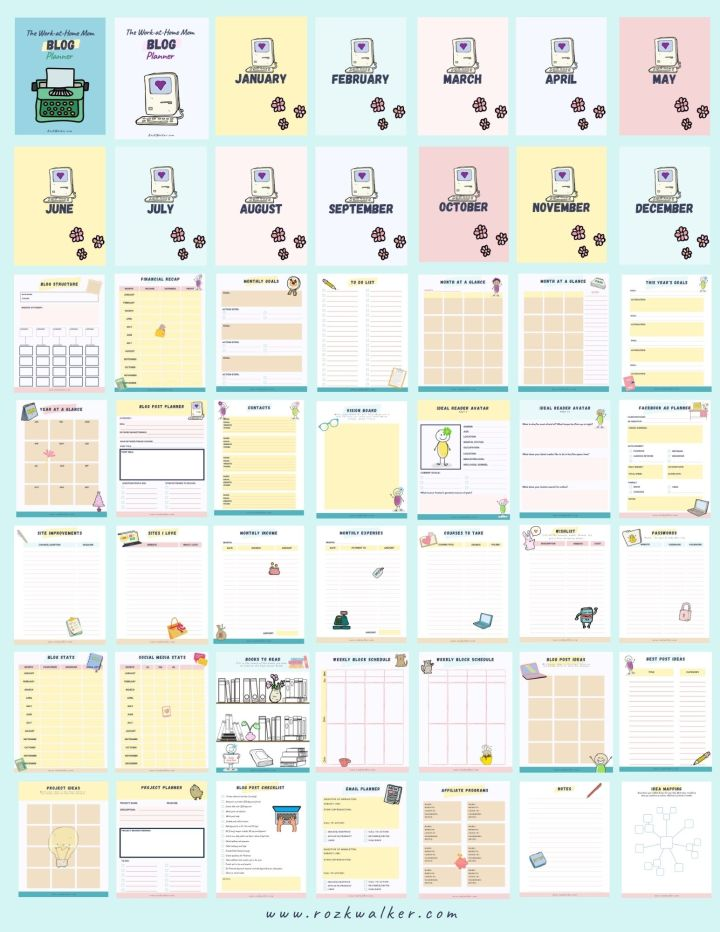 Pages of the 49-page blog planner for work at home moms printable