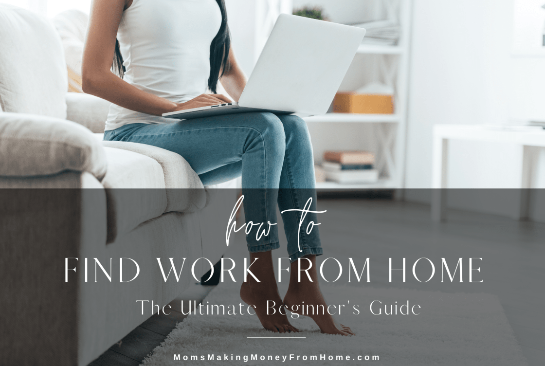 Woman on couch with laptop how moms find work from home