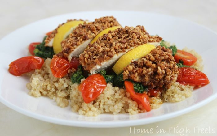 Almond-Crusted-Chicken-Breasts-with-Pesto-Roasted-Tomatoes-Quinoa