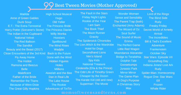 best movies to watch with your tween boy or girl
