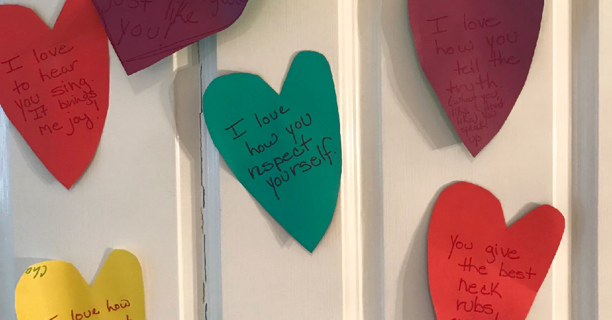 Let's Put A Heart on Our Kid's Door Leading Up to Valentine's Day to Tell Them All The Things We Love About Them!