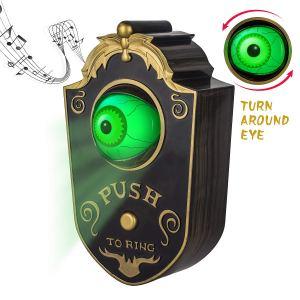 Animated Lightup Talking Eyeball Doorbell for Animatronic Halloween Decor