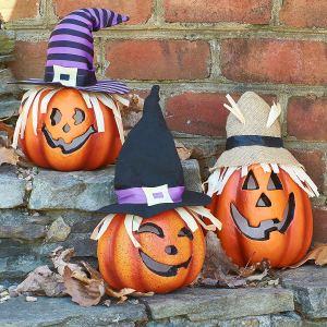Prextex Set of Three Happy Halloween Light Up Jacko Lantern Decorative Pumpkin Foam