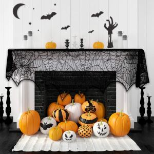 Halloween Fireplace Decoration Festive Party Supplies Lace Spiderweb Fireplace Mantle Scarf